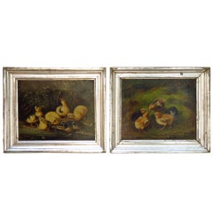 Pair of 19th C. Baby Chicken Paintings