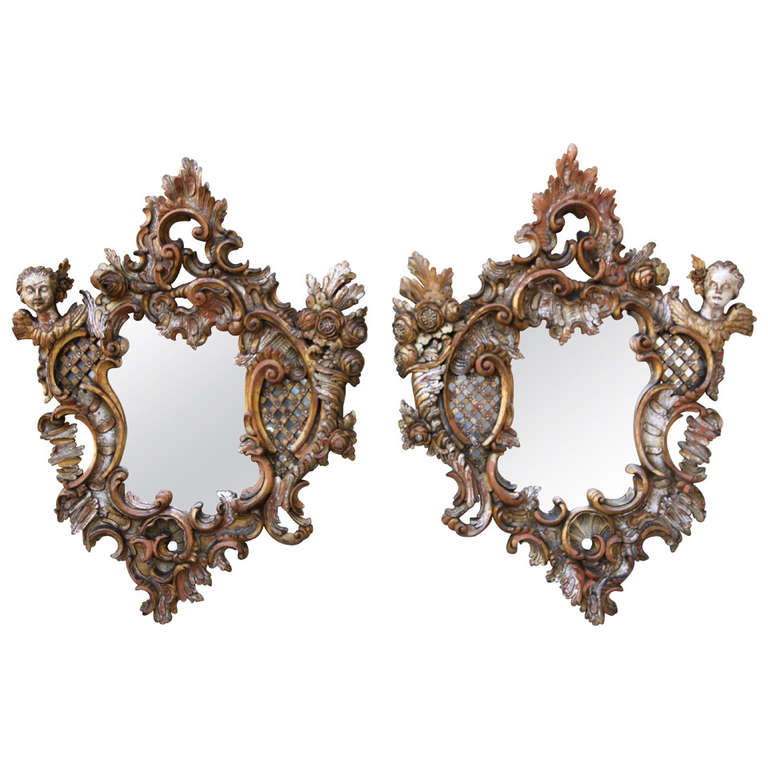Pair of Italian Baroque Style Mirrors For Sale