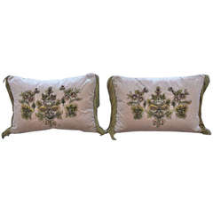 Pair of Pink Silk Velvet Appliqued Pillows