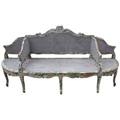 19th C. Painted Carved Wood & Cane 3-Section Sofa