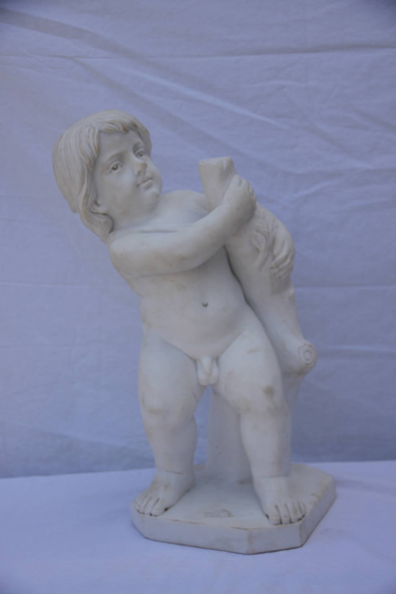 Carrara Marble Set of Marble Statues of Putties,