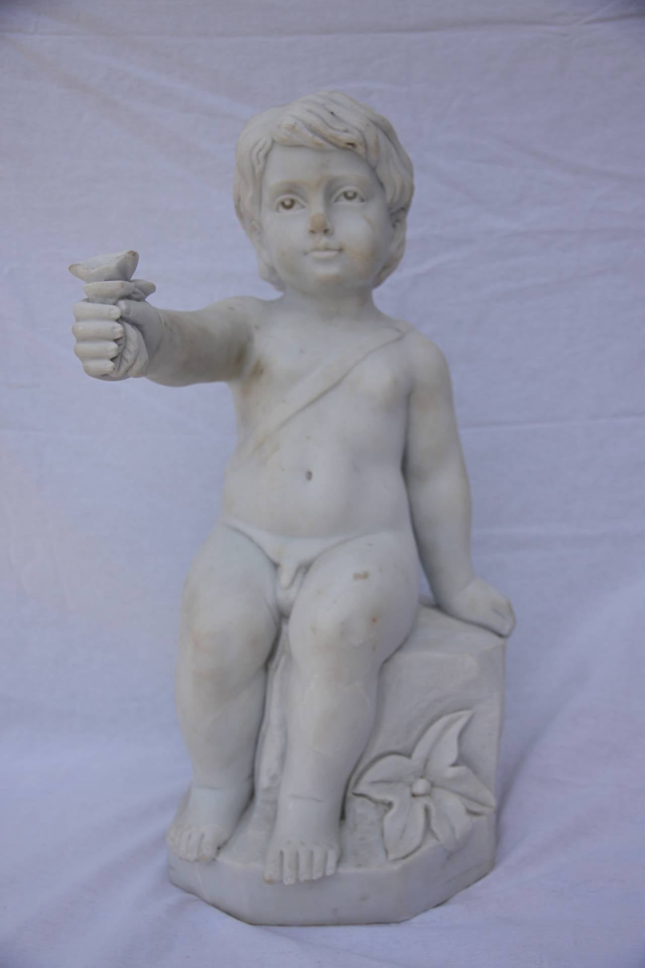 Carved Set of Marble Statues of Putties,