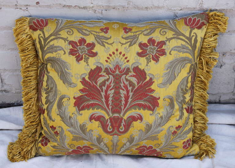 Rococo Pair of Silk Brocade Pillows with Fringe For Sale