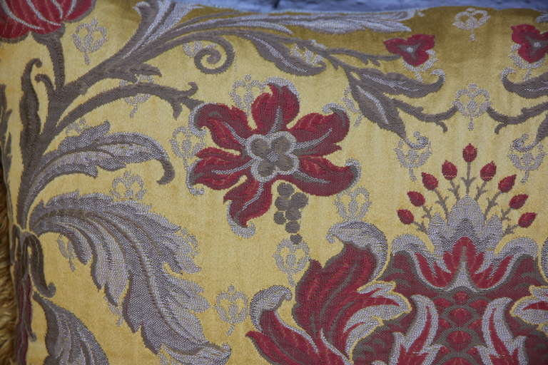 Pair of Silk Brocade Pillows with Fringe In Excellent Condition For Sale In Los Angeles, CA