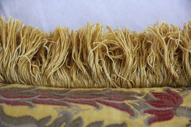 Pair of Silk Brocade Pillows with Fringe For Sale 1