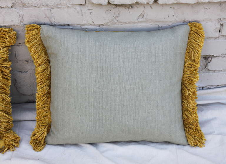 Pair of Silk Brocade Pillows with Fringe For Sale 2