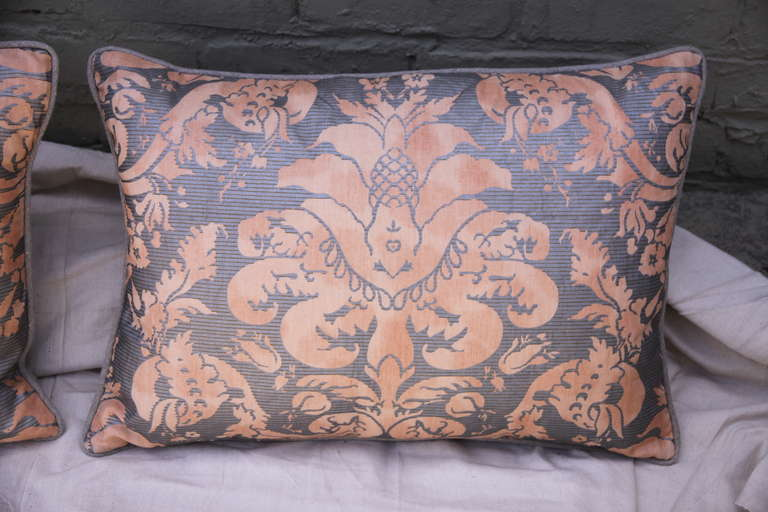 Rococo Pair of  Italian Fortuny Pillows For Sale