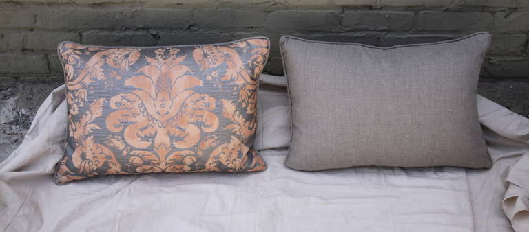 Pair of  Italian Fortuny Pillows For Sale 1