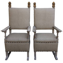 Pair of 18th Century Italian Armchairs with Giltwood Finials