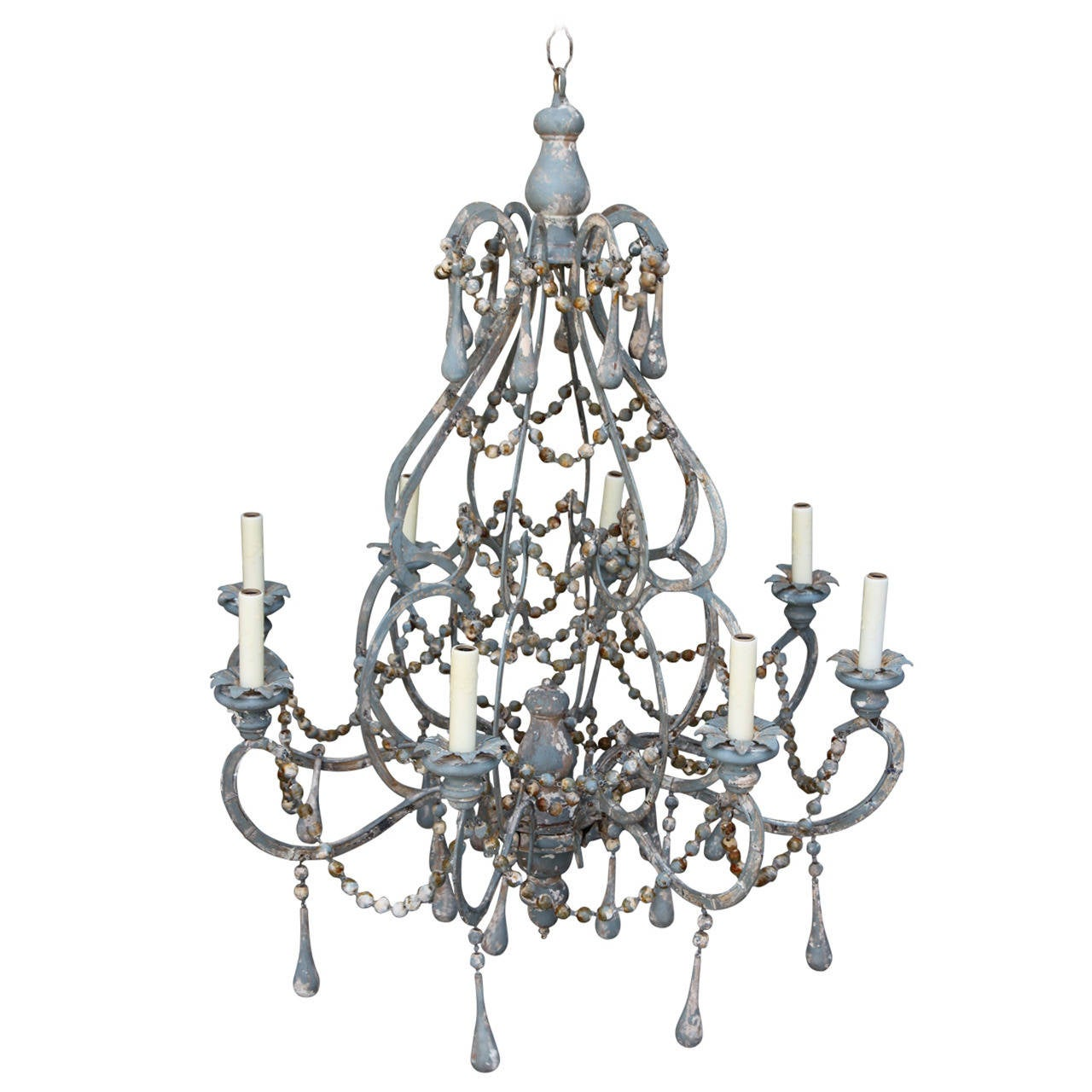 Iron and wood beaded eight light painted chandelier at 1stdibs iron and wood beaded eight light painted chandelier 1 arubaitofo Image collections