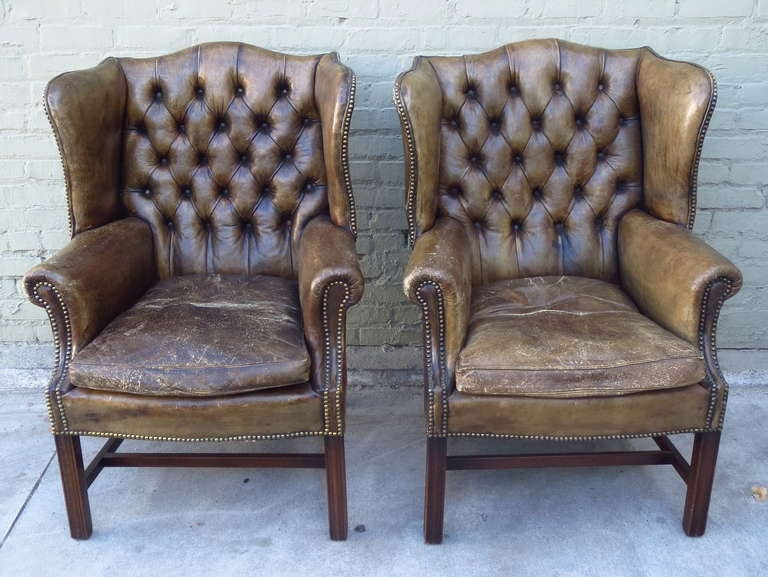 Antique Leather Wingback Chairs Pair at 1stdibs