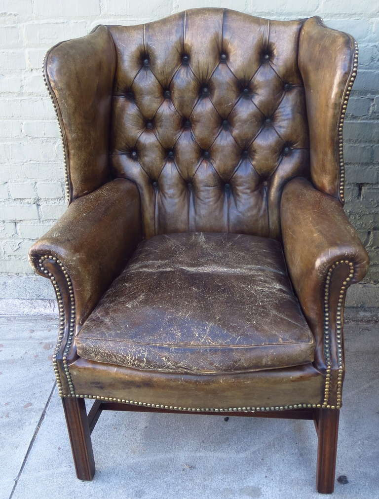 English Antique Leather Wingback Chairs, Pair For Sale - Antique Leather Wingback Chairs, Pair At 1stdibs