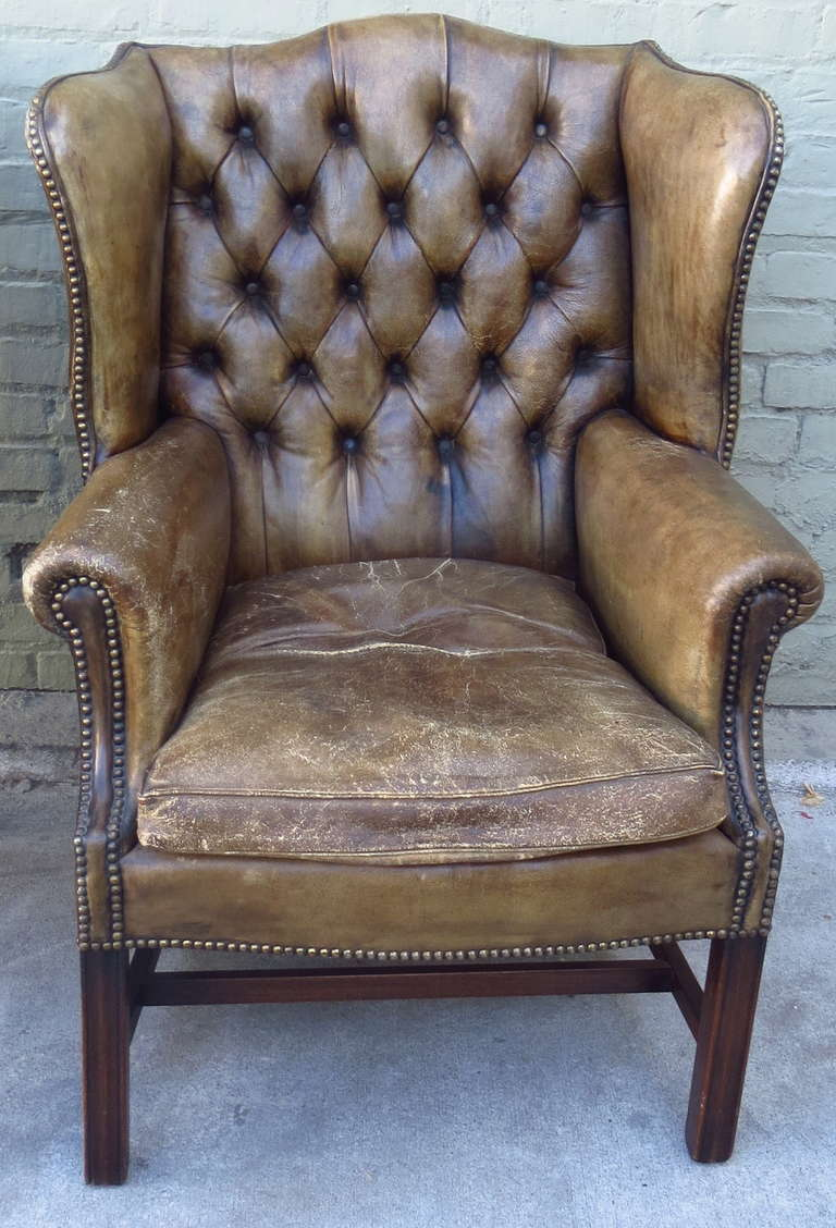Antique Leather Wingback Chairs, Pair In Distressed Condition For Sale In  Los Angeles, CA - Antique Leather Wingback Chairs, Pair At 1stdibs