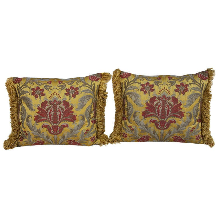 Pair of Silk Brocade Pillows with Fringe For Sale