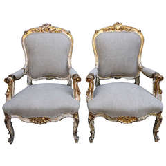 19th Century French Painted and Parcel Gilt Armchairs