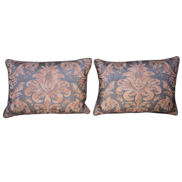 Pair of  Italian Fortuny Pillows For Sale