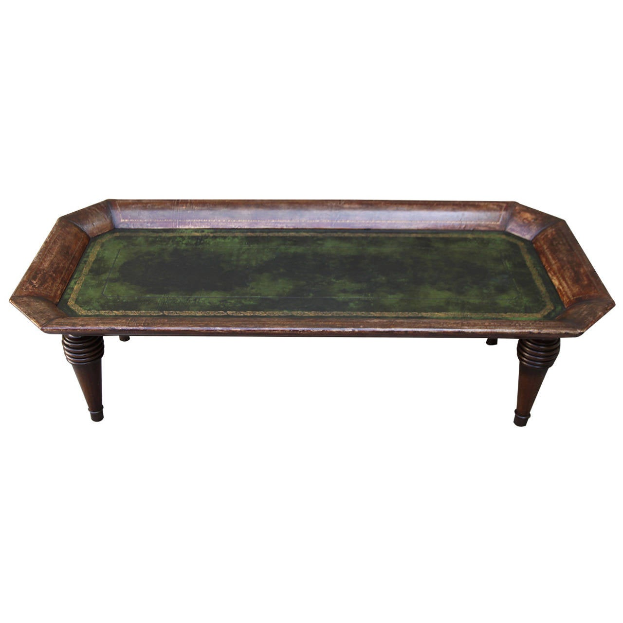 English gold embossed leather coffee table at 1stdibs Coffee table with leather top