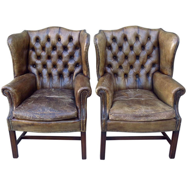 Antique Leather Wingback Chairs, Pair at 1stdibs