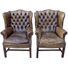 Antique Leather Wingback Chairs, Pair