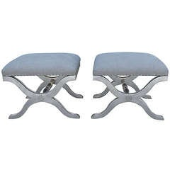 Pair of Italian Silver Gilt Linen Benches