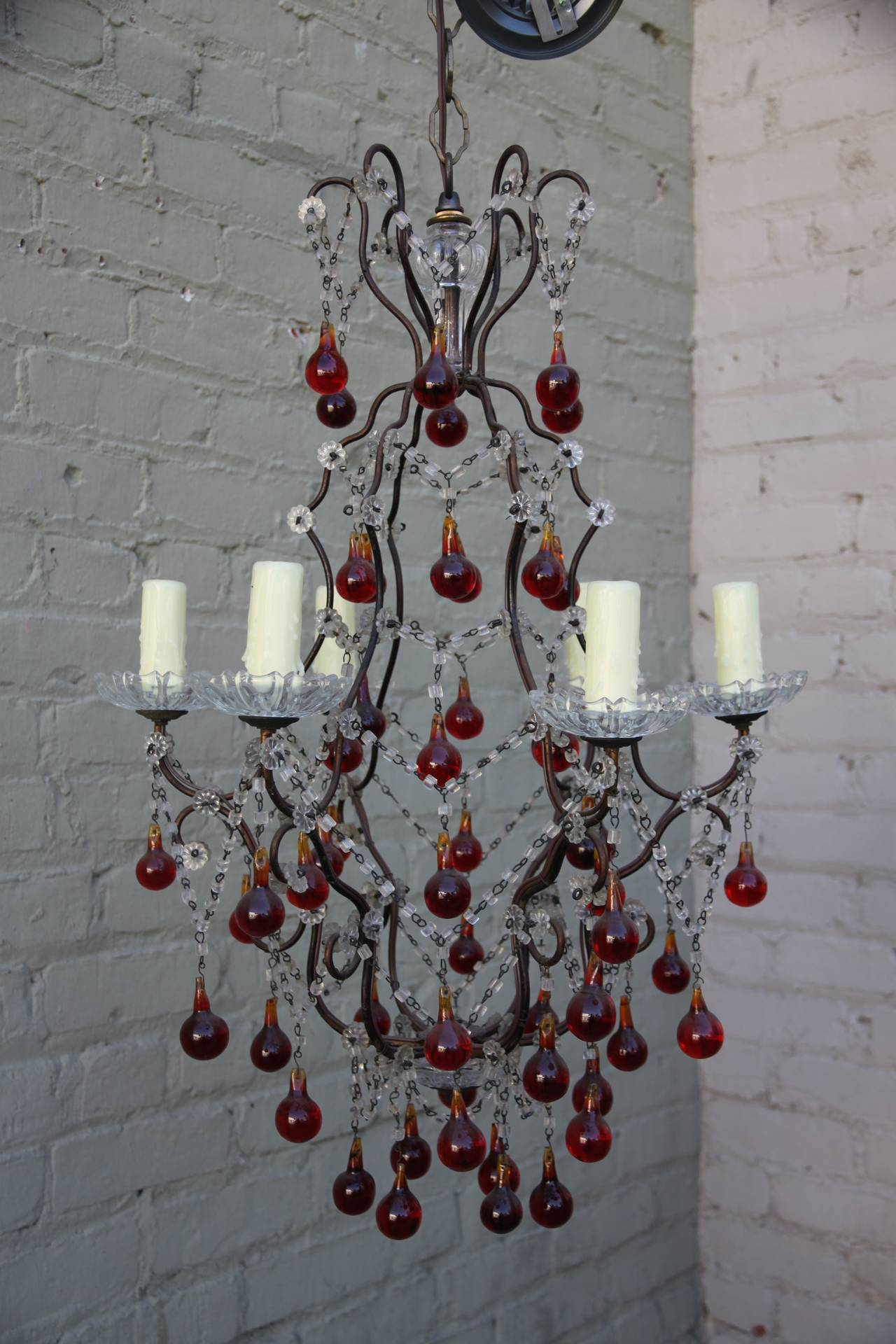 Italian red drop & macaroni beaded 6-light crystal chandelier with candelabra size sockets.  Newly wired and in working condition.