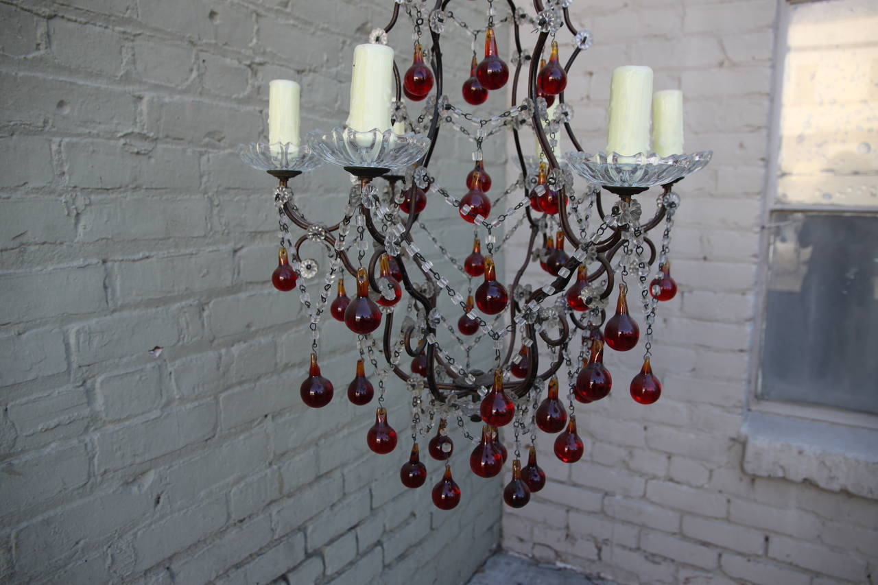 Italian Red & Clear 6-light Crystal Chandelier For Sale 1