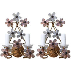 Pair of Italian Floral Crystal Sconces