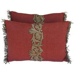 Pair of Gold Metallic Appliqued Linen Pillows