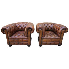 Pair of Vintage Leather Tufted Chesterfield Armchairs