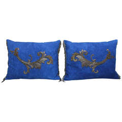 Pair of Metallic Appliqued Blue Linen Pillows
