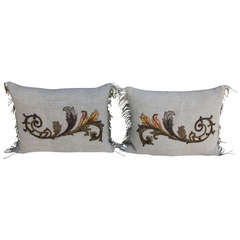 Pair of Antique Appliqued Belgium Linen Pillows