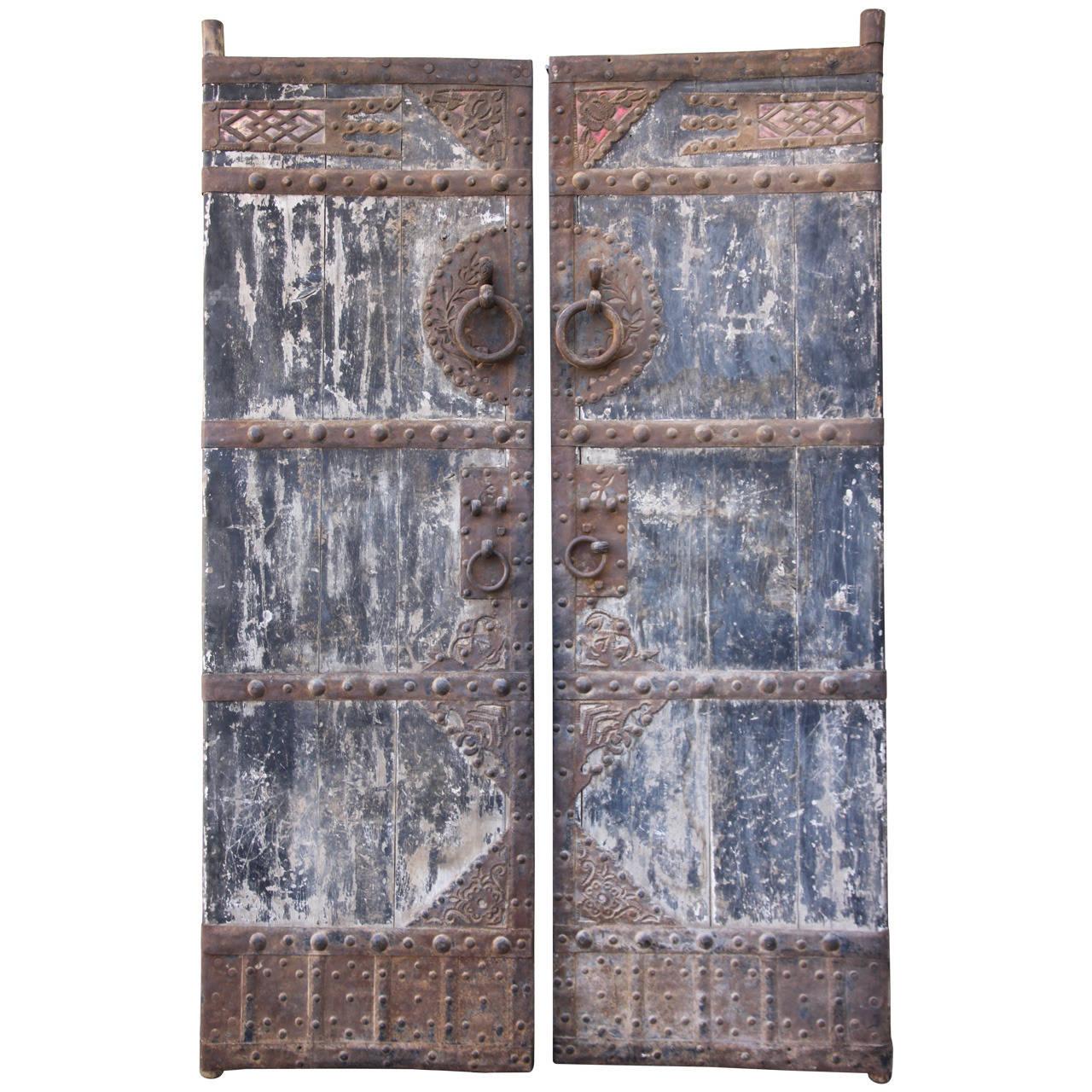1280 #705950 Pair Of Asian Painted And Metal Doors At 1stdibs save image Painting Metal Doors 47471280