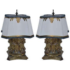 Pair of Antique Giltwood Lamps with Parchment Shades