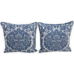 Pair of Blue & White Fortuny Textile Pillows