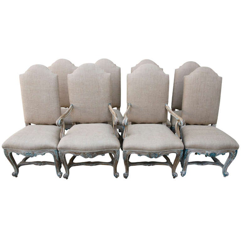 8 French Painted and Bulap Dining Chairs at 1stdibs