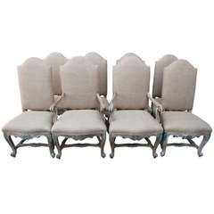 (8) French Painted & Bulap Dining Chairs
