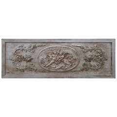 French Carved Wood Plaque