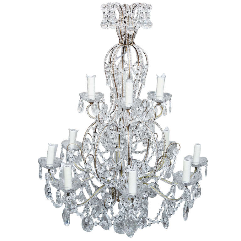 Two Tiered Beaded Crystal Chandelier at 1stdibs