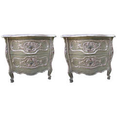 French Painted and Parcel Gilt Bombay Chests, Pair