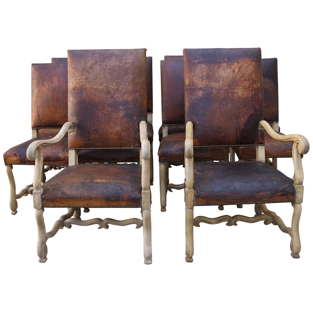 set of eight spanish leather dining chairs at 1stdibs