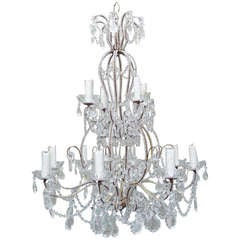 Twelve-Light Italian Crystal Beaded Chandelier