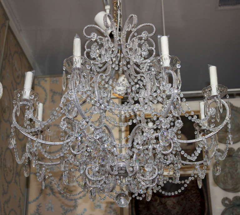 Monumental italian crystal beaded chandelier at 1stdibs monumental italian crystal beaded chandlier with larland of rose cut beads throughoutrolls throughout aloadofball Choice Image