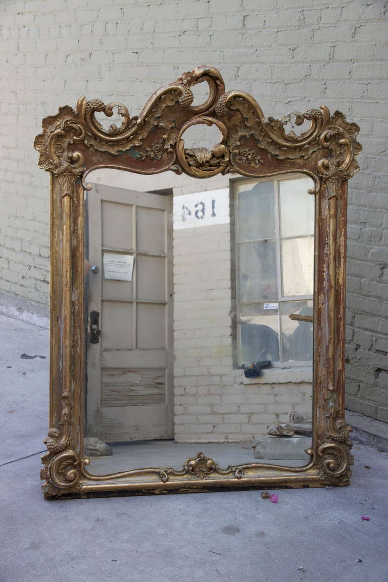 19th century french giltwood rococo style mirror at 1stdibs for French rococo style