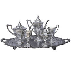 Hand-Hammered and Engraved Tea Set