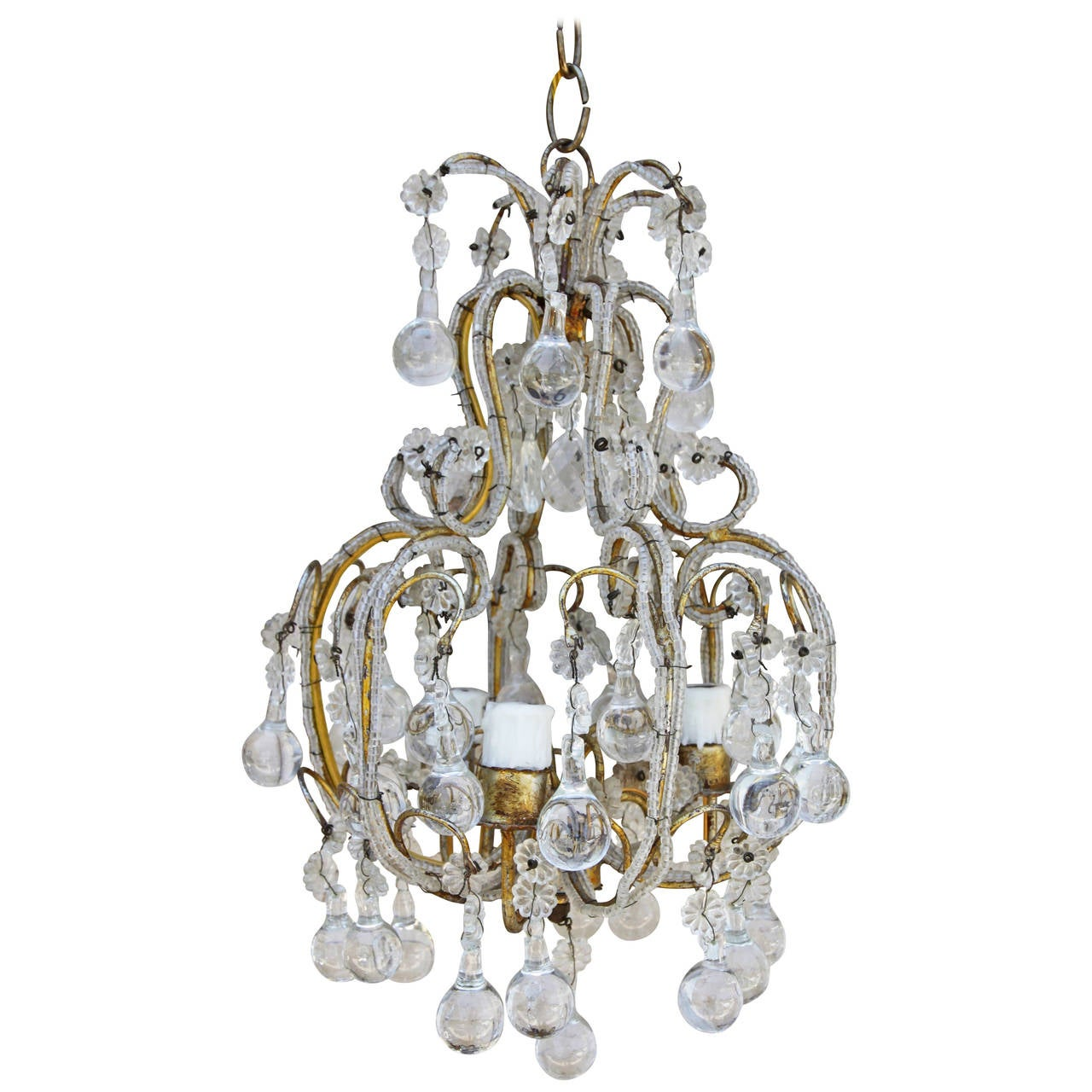 French crystal beaded three light chandelier at 1stdibs - Chandelier glass beads ...