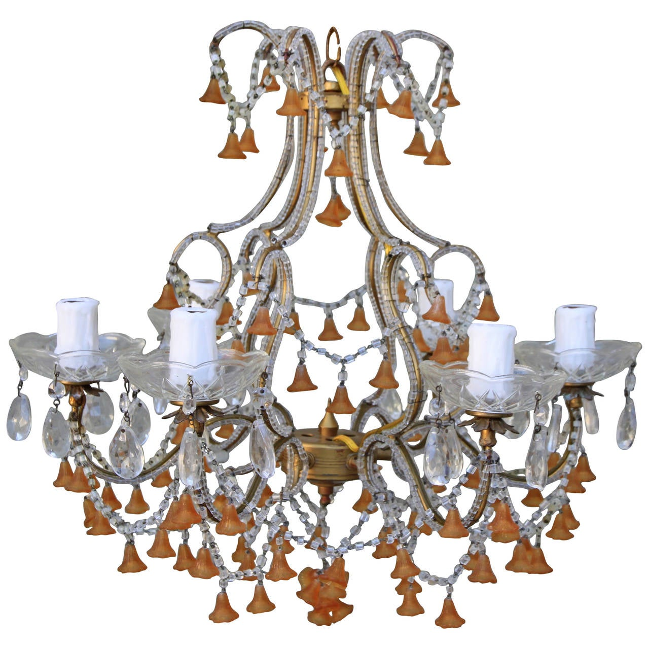 Murano Chandelier Color: Six-Light Amber Colored Murano Glass Chandelier For Sale
