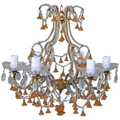 Six-Light Amber Colored Murano Glass Chandelier