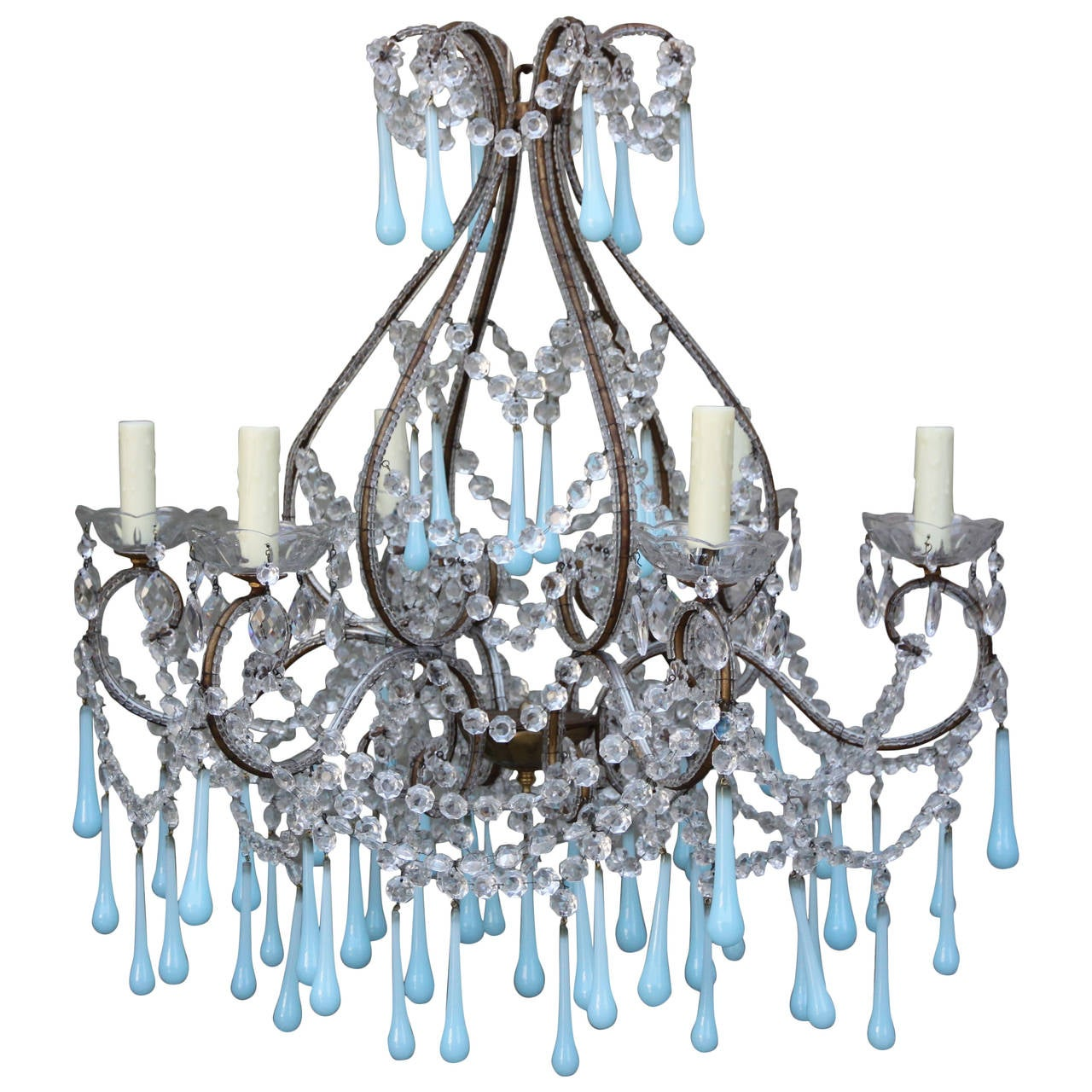 Crystal beaded chandelier with soft blue murano drops for sale at 1stdibs - Chandelier glass beads ...