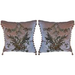 Pair of Metallic Embroidered Silk Velvet Pillows