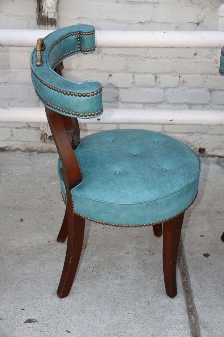Turquoise Leather Game Chairs, Set Of Four At 1stdibs